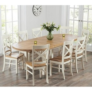 Cheyenne Oval Oak & Cream Extending Table & Cavanaugh Chair Set