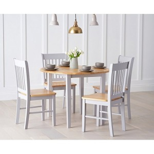 Genovia Oak & Grey Extending Dining Table and Chairs Set