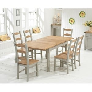 Sandringham Oak & Grey Painted 130cm Extending Table & Chairs Set