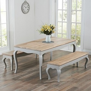 Sienna Grey Painted Furniture 175cm Table & Benches Set