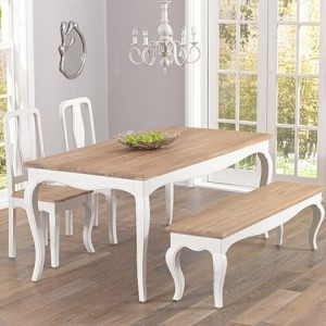 Sienna Ivory Painted Furniture 175cm Table with Chairs & Bench Set