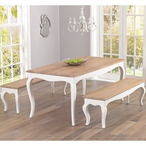Sienna Ivory Painted Furniture 175cm Table & Benches Set