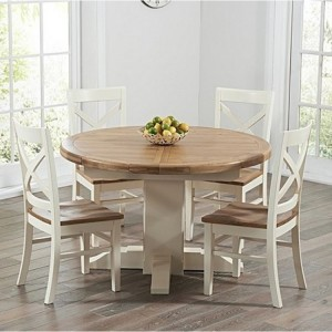 Turin Oak & Cream 125cm Round Extending Table & Cavanaugh Set