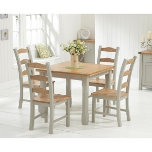 Sandringham Oak & Grey Painted Flip Top Dining Table 90 & Chairs Set