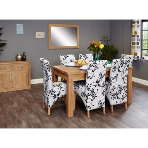 mobel oak furniture extending 8 seater dining table fabric set
