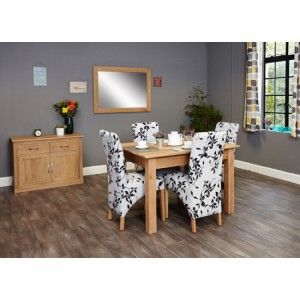 Mobel Oak Furniture Four Seater Dining Table & Fabric Chair Set