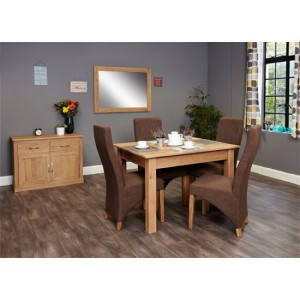 Mobel Oak Furniture Four Seater Dining Table & Hazelnut Chair Set