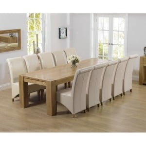 Tampa Oak Furniture 300cm Extra Large Dining Table & Bromley Set