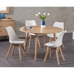 Newark 120cm Round Oak Dining Table & Dannii Faux Leather Chair Set