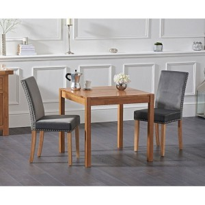 Promo Oak 80cm Dining Table & Maiya Plush Chairs Set