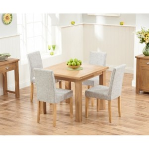 Sandringham Oak Flip Top Dining Table & 4 Fabric Chairs 90-180cm