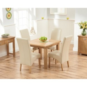 Sandringham Oak Flip Top Dining Table & 4 Leather Chairs 90-180cm
