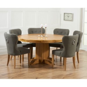 Turin Round Oak Dining Table & 4 Fabric Studded Chairs 150cm