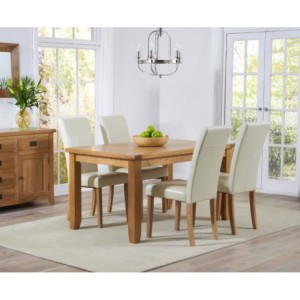 York Light Oak Furniture Dining Table & Faux Leather Chairs 140cm