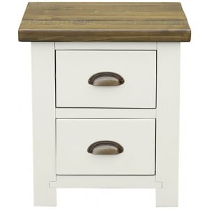 Fairford White Painted Furniture 2 Drawer Bedside Table