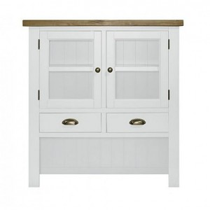 Fairford White Painted Furniture 2 Door 2 Drawer Hutch Top