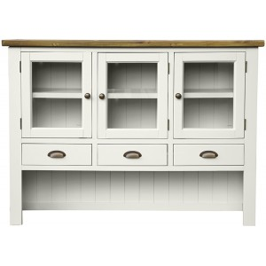 Fairford White Painted Furniture 3 Door 3 Drawer Hutch Top