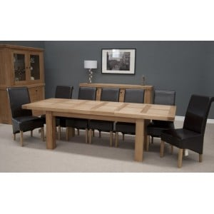 Bordeaux Solid Oak Furniture Large Extending Dining Table 12 Seater