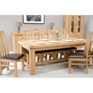 Bordeaux Solid Oak Furniture 14 Seater Grand Extending Dining Set