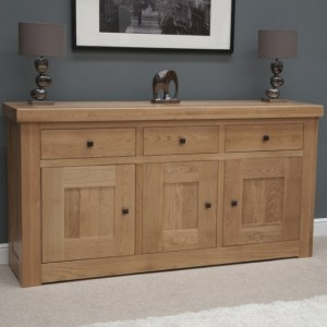 Bordeaux Solid Oak Furniture 3 Door 3 Drawer Sideboard