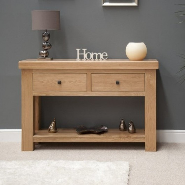Bordeaux Solid Oak Furniture Console Table - Solid Oak Console Table With Storage