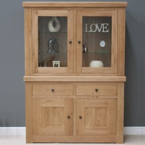 Bordeaux Solid Oak Furniture Glass Display Unit