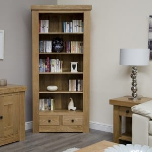 Bordeaux Solid Oak Furniture Large Bookcase with Drawers
