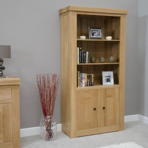 Bordeaux Solid Oak Furniture 2 Door Bookcase