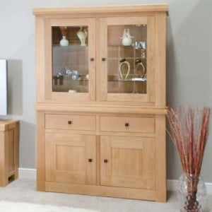 Bordeaux Solid Oak Furniture Display Cabinet Glass Top