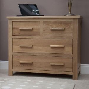 Homestyle Opus Solid Oak Furniture 2 Over 2 Chest Of Drawers