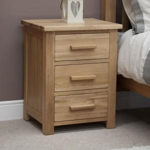 Homestyle Opus Solid Oak Furniture 3 Drawer Bedside Cabinet