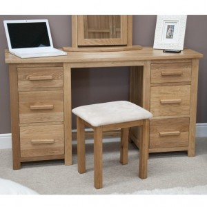Homestyle Opus Solid Oak Furniture Twin Dressing Table And Stool Set