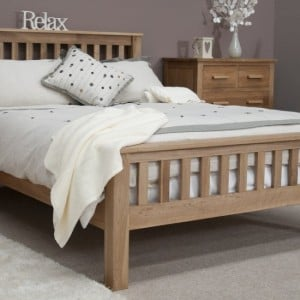 Homestyle Opus Solid Oak Furniture High Foot End Double Bed 4ft 6