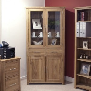 Homestyle Opus Solid Oak Furniture Glass 4 Door Library Unit