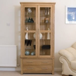 Homestyle Opus Solid Oak Furniture Glass Display Cabinet