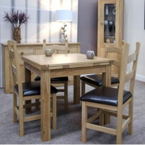 Homestyle Opus Solid Oak Furniture 150cm Extending Dining Room Table