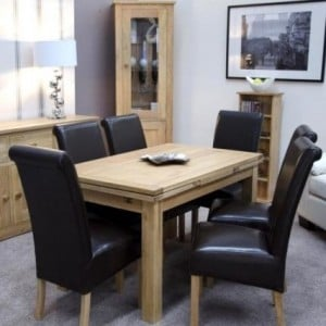 Homestyle Opus Solid Oak Furniture 220cm Extending Dining Room Table