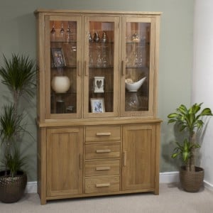 Homestyle Opus Solid Oak Furniture Large Display Cabinet