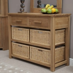Homestyle Opus Solid Oak Furniture Console Table With Baskets