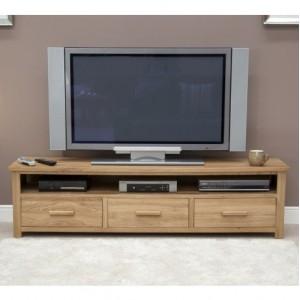 Homestyle Opus Solid Oak Furniture Wide Plasma TV Unit Cabinet