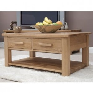 Homestyle Opus Solid Oak Furniture Coffee Table With Drawers