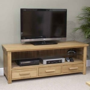 CLEARANCE Homestyle Opus Solid Oak Furniture Plasma TV Unit Cabinet