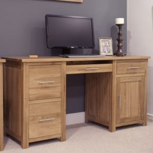 Homestyle Opus Solid Oak Furniture Large Computer Desk