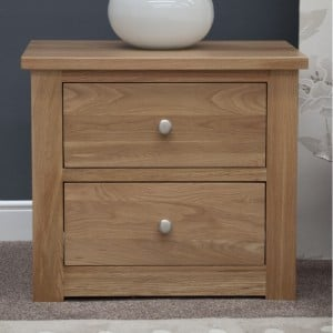 Homestyle Torino Solid Oak Furniture 2 Drawer Wide Bedside Cabinet