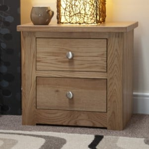 Homestyle Torino Solid Oak Furniture 2 Drawer Narrow Bedside Cabinet