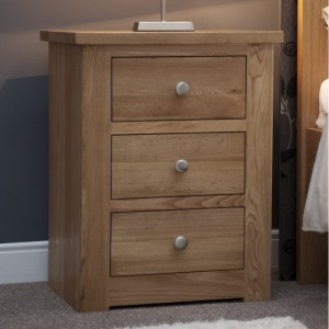 Homestyle Torino Solid Oak Furniture 3 Drawer Narrow Bedside Cabinet