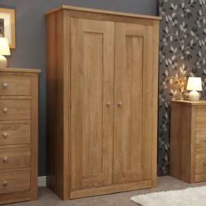 Homestyle Torino Solid Oak Furniture Double Wardrobe