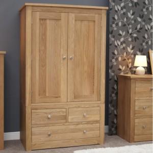 Homestyle Torino Solid Oak Furniture Gents Wardrobe