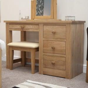 Homestyle Torino Solid Oak Furniture Dressing Table And Stool