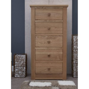 CLEARANCE Homestyle Torino Solid Oak Furniture 5 Drawer Wellington Chest